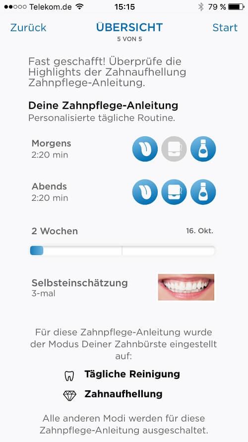 Oral B APP - Zahnpflegeanleitung zum Zähne aufhellen