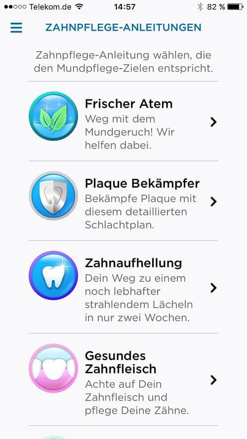 Oral B App - Zahnpflegeanleitungen Übersicht