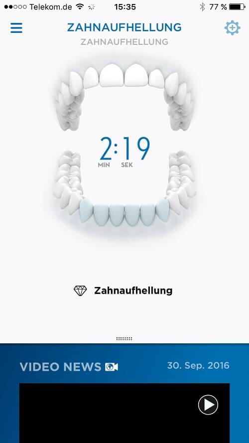 Oral B Anzeige in der Smartphone App