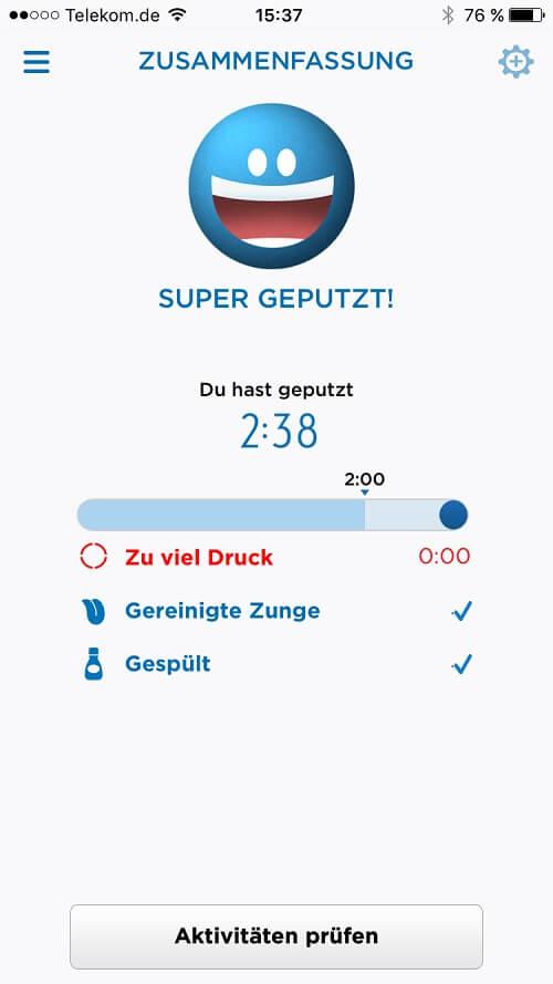 Oral B Smartphone App Ergebnisanzeige
