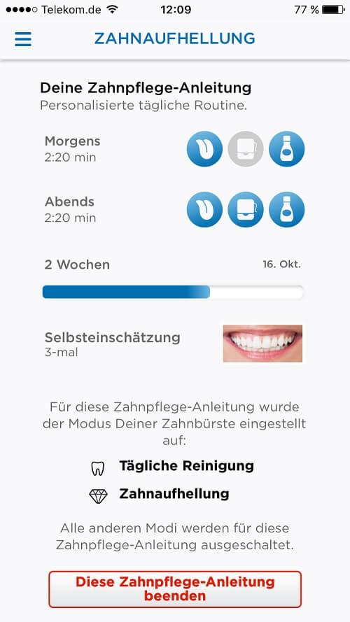 Zwischenstand der Zahnaufhellung mit der Oral B App